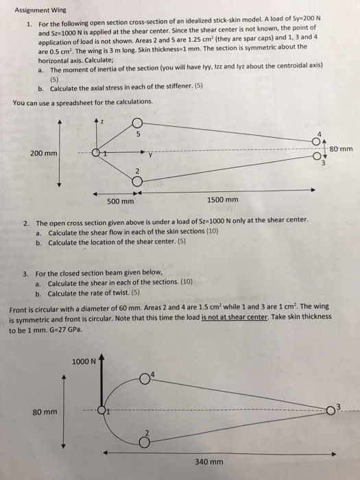 Solved: Assignment Wing 1  For The Following Open Section