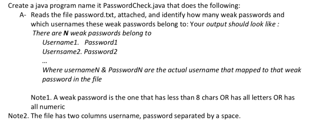 Solved: Create A Java Program Name It PasswordCheck java T
