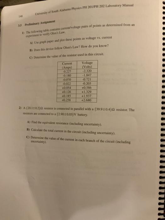 Solved: University Of South Alabama Physics PHI 201/PH 202