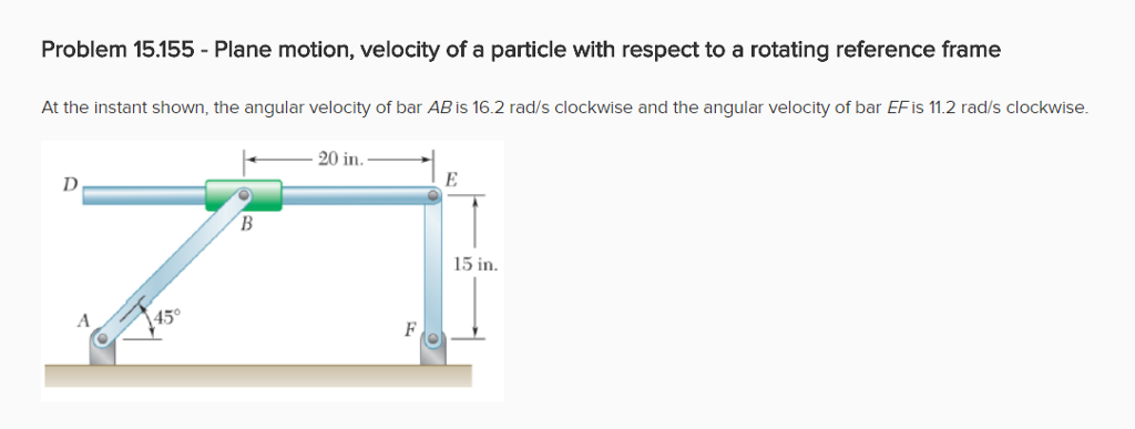 Solved: Problem 15.155 - Plane Motion, Velocity Of A Parti ...