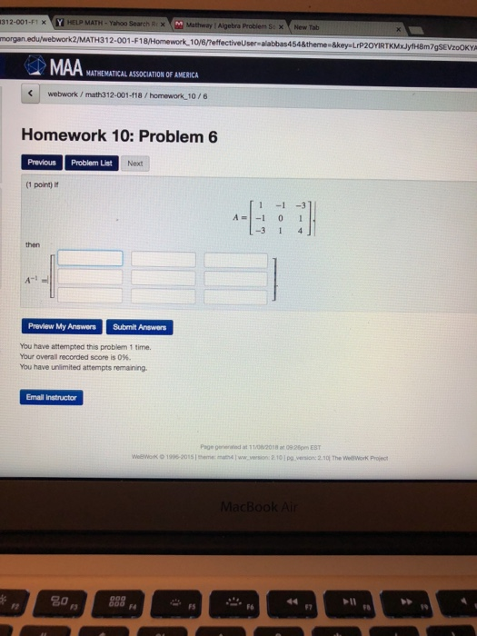 Solved: 312-001-F1 |HELP MATH. Yahoo Search RX × Mathway 1 ... on
