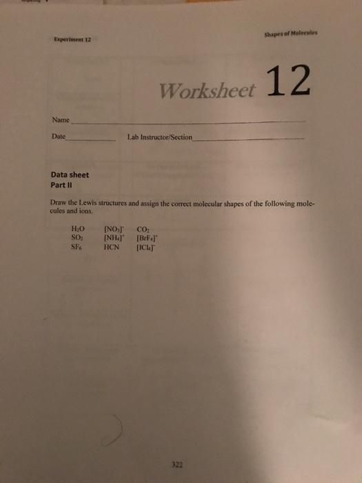 Solved: Shapes Of Molecules Experiment 12 Worksheet 12 Nam