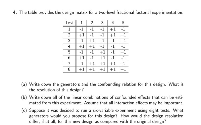 The Table Provides The Design Matrix For A Two Level Fractional Factorial Experimentation