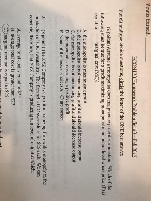 xyz homework answers