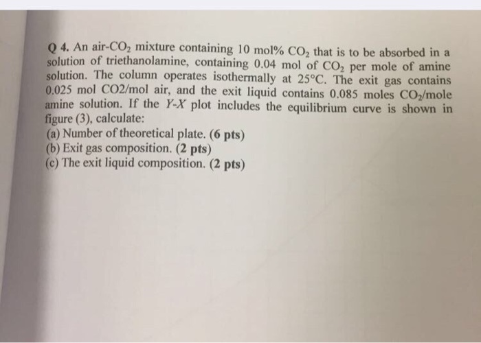 4. An air-CO2 mixture containing 10 mol% CO2 that is to be absorbed in a solution of triethanolamine, containing 0.04 mol of CO2 per mole of amine solution. The column operates isothermally at 25°C. The exit gas contains 0.025 mol CO2/mol air, and the exit liquid contains 0.085 moles CO2/mole amine solution. If the Y-X plot includes the equilibrium curve is shown in figure (3), calculate: (a) Number of theoretical plate. (6 pts) (b) Exit gas composition. (2 pts) (c) The exit liquid composition. (2 pts)