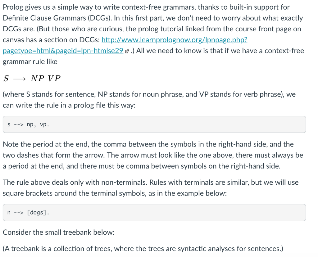 Prolog Gives Us A Simple Way To Write Context-free    | Chegg com