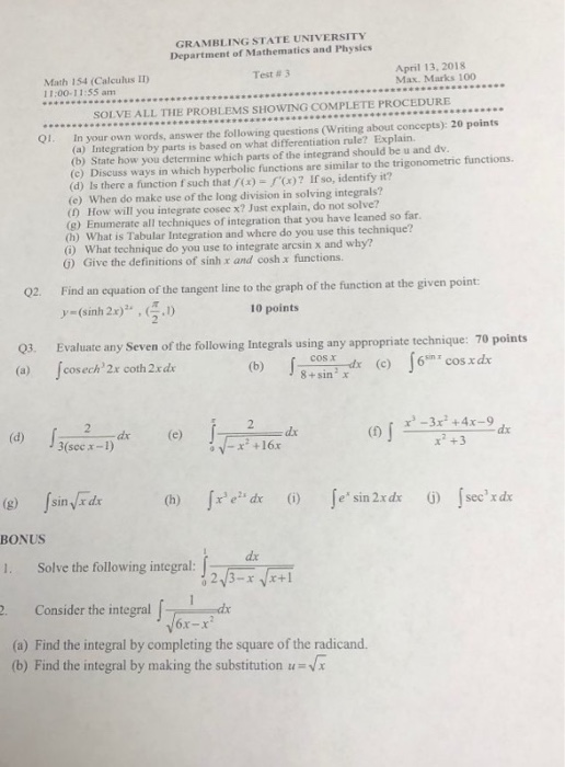 Solved: GRAMBLING STATE UNIVERSITY Department Of Mathemati ...