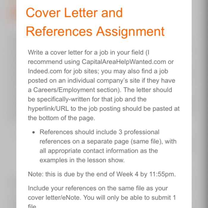 Cover Letter And References Assignment Write A For Job In Your Field