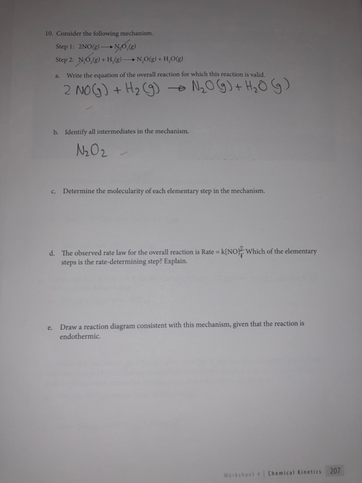 Solved: 10. Consider The Following Mechanism. Step 1: 2NO ...