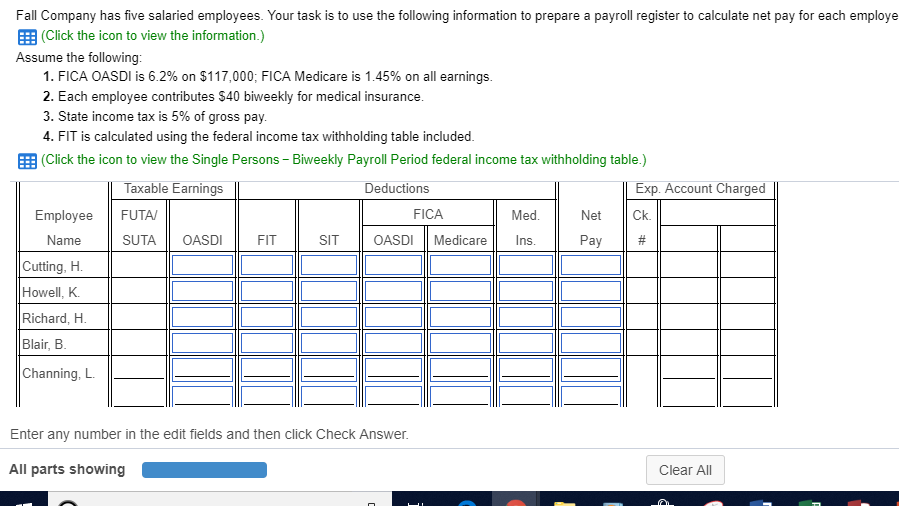 Prepare A Payroll Register To Calculate Net Pay Fo...   Chegg.com