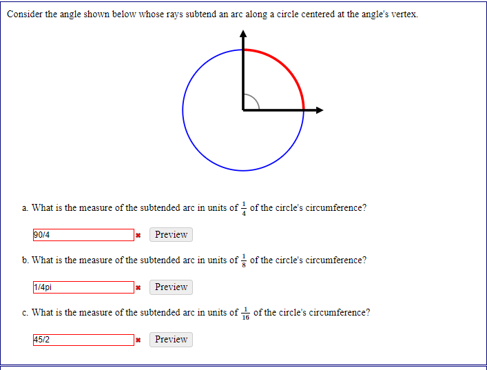 Solved: Consider The Angle Shown Below Whose Rays Subtend ...