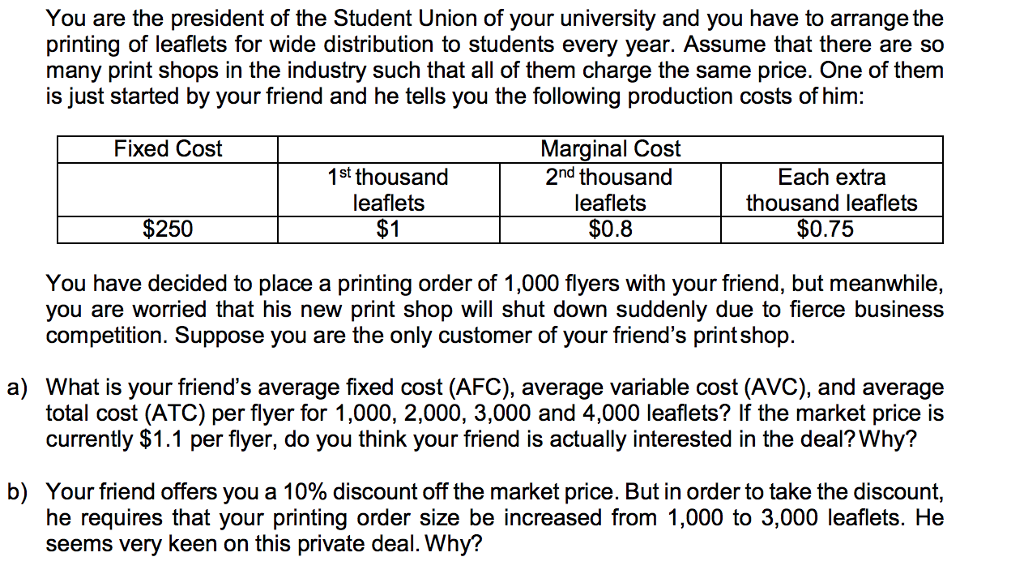 Solved: You Are The President Of The Student Union Of Your
