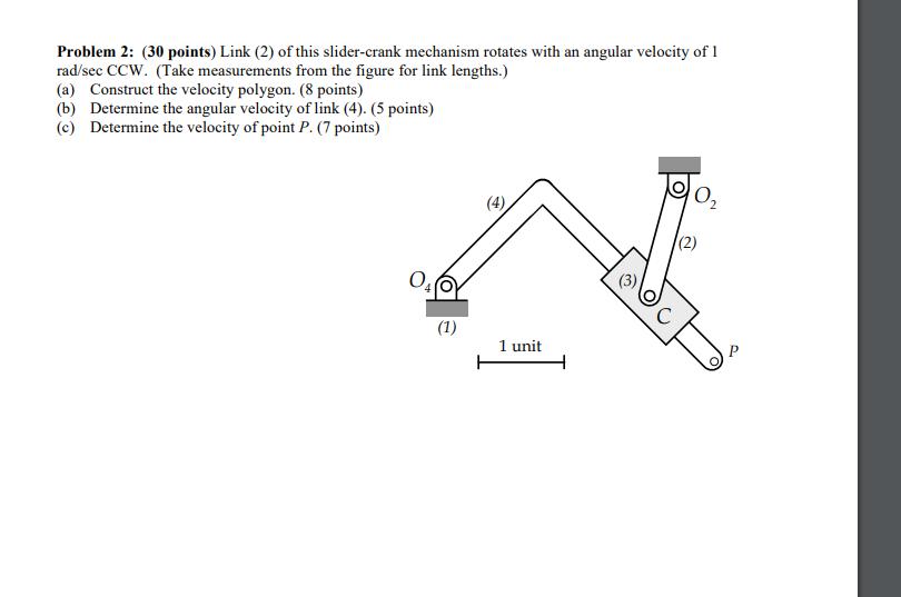 Solved: Problem 2: (30 Points) Link (2) Of This Slider-cra