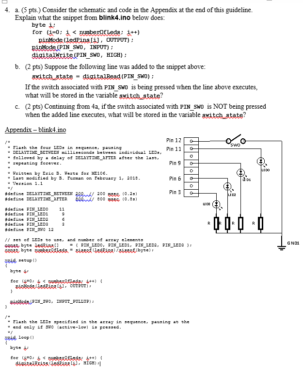 Solved: 4. A. (5 Pts.) Consider The Schematic And Code In ... on