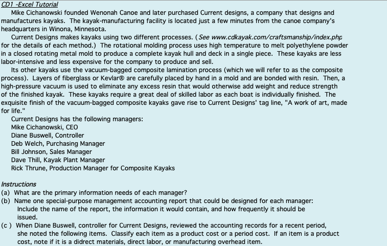 CD1 -Excel Tutorial Mike Cichanowski Founded Wenon      Chegg com