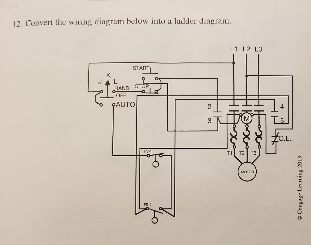 solved 12 convert the wiring diagram below into a ladder L2 L3 Back Pain