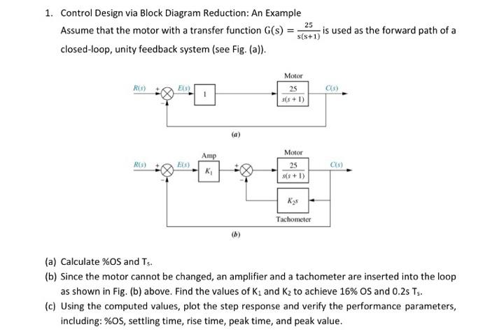 control design via block diagram reduction: an example 25 assume that the  motor
