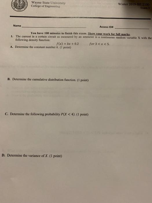 Solved: 喆 Wayne State University College Of Engineering W