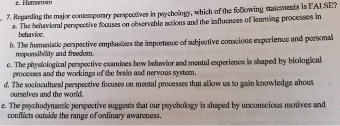 major contemporary perspectives in psychology