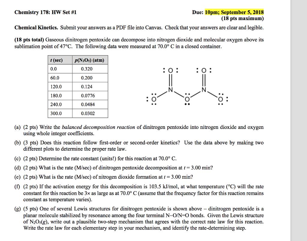 Solved: Chemistry 178: HW Set #1 Chemical Kinetics  Submit