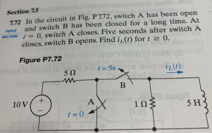 Solved: Section 7.5 772 In The Circuit In Fig. P 7.72, Swi ...