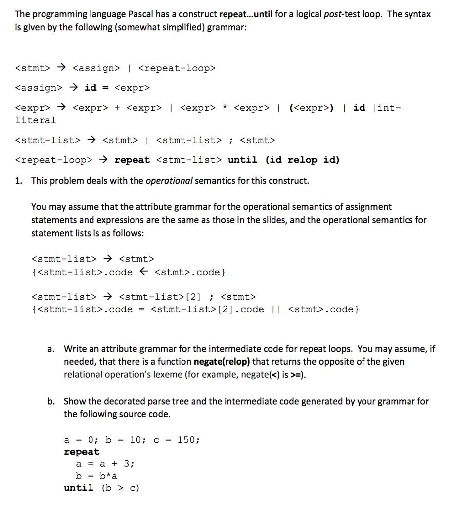 The Programming Language Pascal Has A Construct Re    | Chegg com