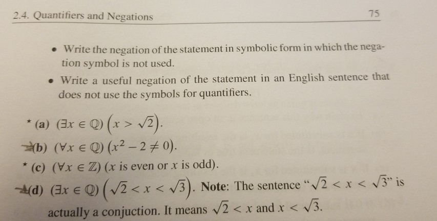 Solved Can You Write A Negation Statement In Sentence For