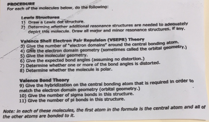 Solved Procedure For Each Of The Molecules Below Do The Chegg Com