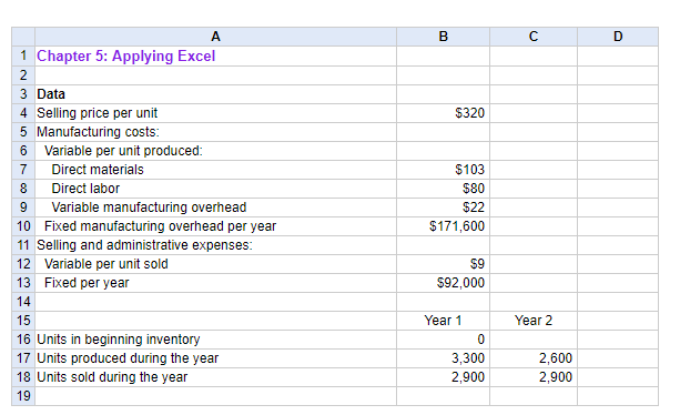 1Chapter 5 Applying Excel 3 Data 4 Selling Price Per Unit Manufacturing Costs 6