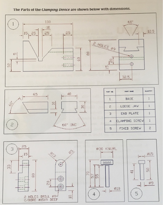 Solved: Assembly Design Problem - Clamping Device) 1  Usin