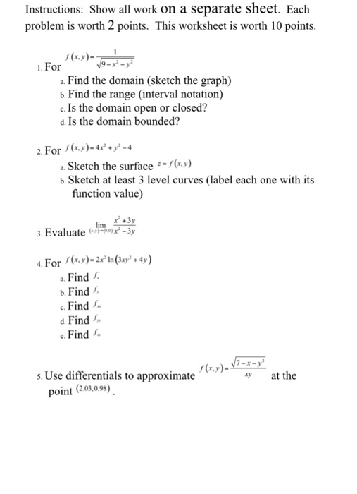 Solved Instructions On A Separate Sheet Each Problem Is