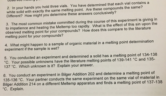 melting point lab report organic chemistry