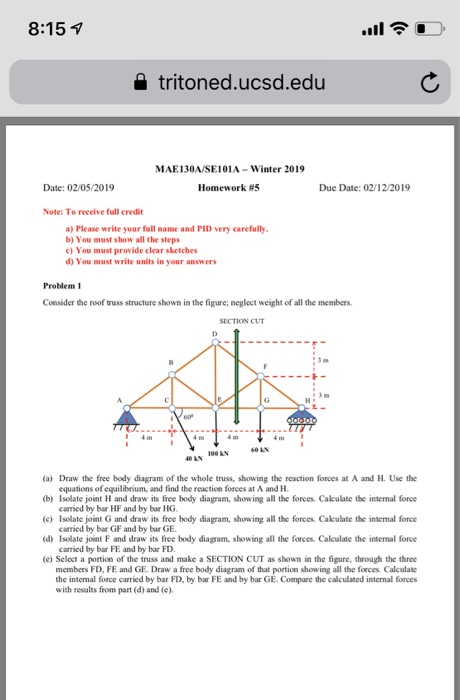 Solved: Consider The Roof Truss Structure In The Figure