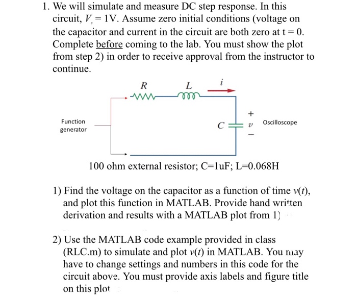 1) Find The Voltage On The Capacitor As A Function    | Chegg com