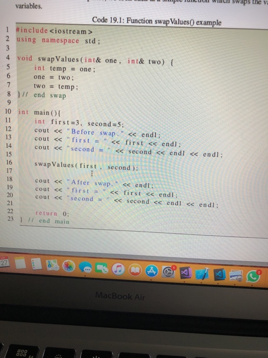 Solved: Pch Swaps The V Variables  Code 19 1: Function Swa