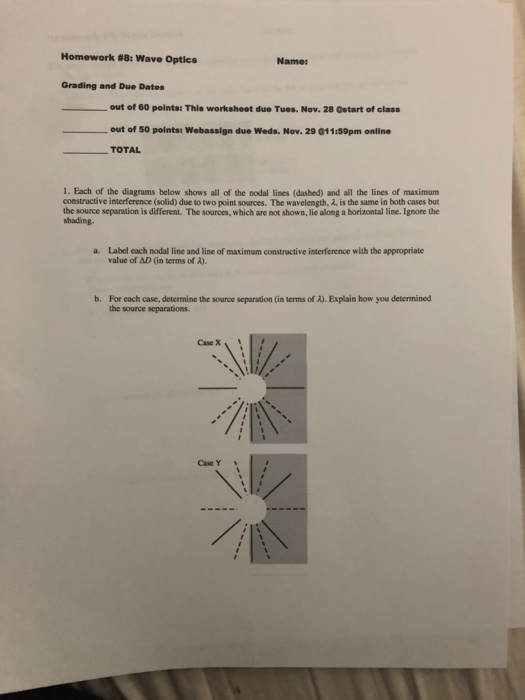 Solved Homework 8 Wave Optics Name Grading And Due Dat