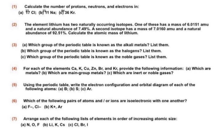 Solved Calculate The Number Of Protons Neutrons And Ele
