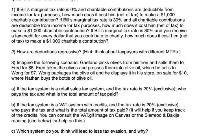 solved 1 if bill s marginal tax rate is 0 and charitabl