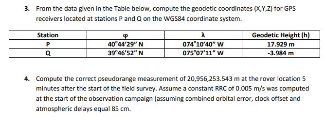 Solved: 3  From The Data Given In The Table Below, Compute