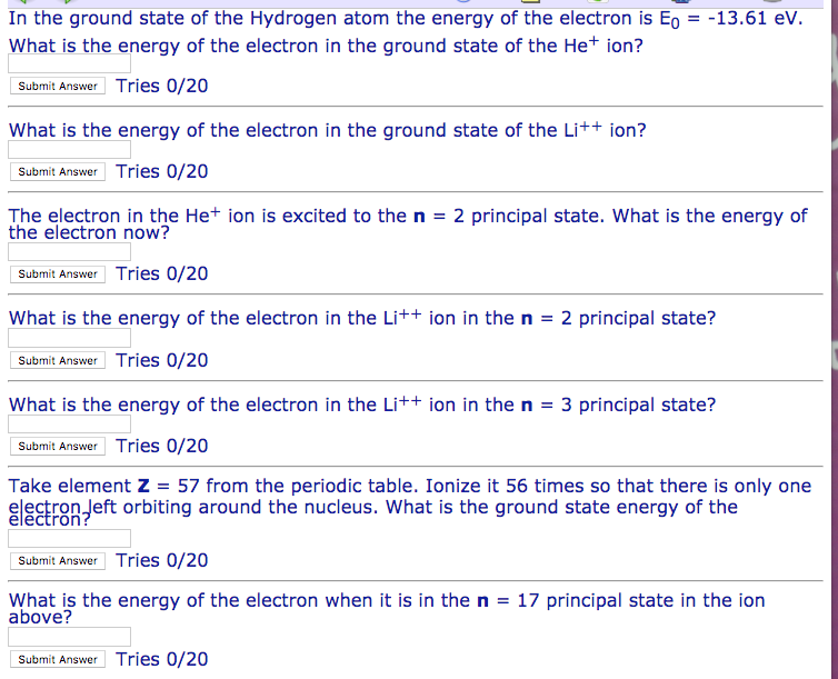 Solved: In The Ground State Of The Hydrogen Atom The Energ