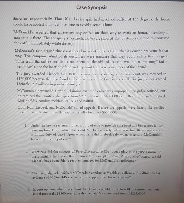Solved Case Synopsis Liebeck V Mcdonalds Restaurants N