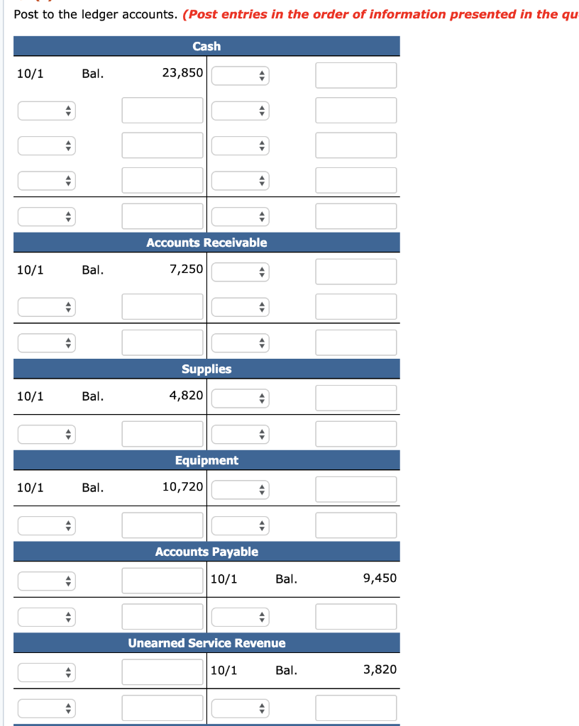 Solved: Prepare A General Ledger Using T-accounts. Enter T ...