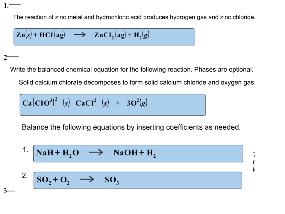 The Reaction Of Zinc Metal And Hydrochloric Acid Produces Hydrogen Gas Chloride