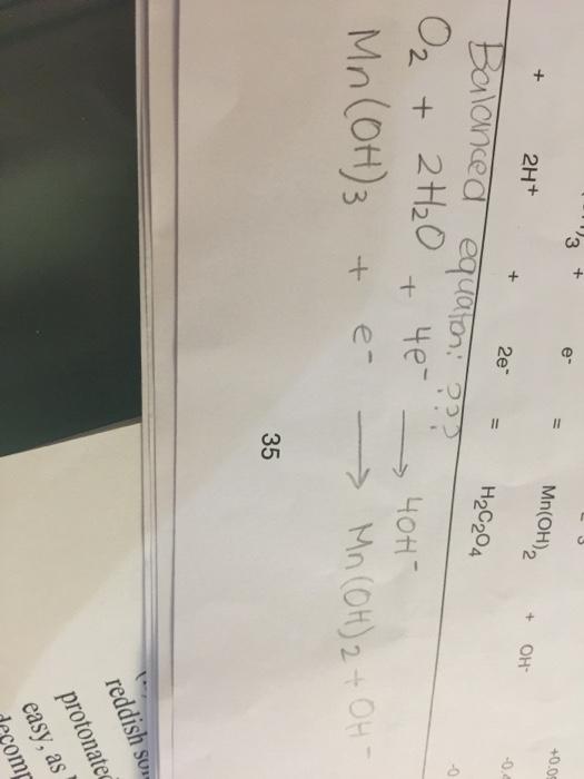 Solved Balanced Equation O 2 2h 2o 4e Righta