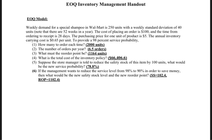 eoq inventory management handout eoo model weekly demand for a special shampoo in wal