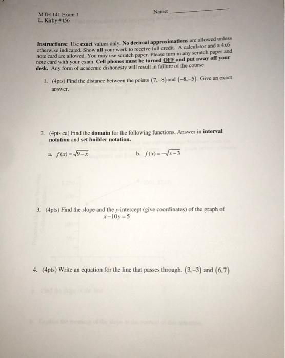 Name Mth 141 Exam 1 L Kirby 456 Instructions Use Exact Values