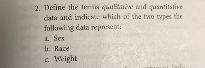 Solved: 2  Define The Terms Qualitative And Quantitative D