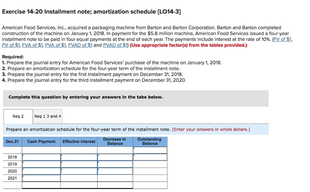 solved exercise 14 20 installment note amortization sche