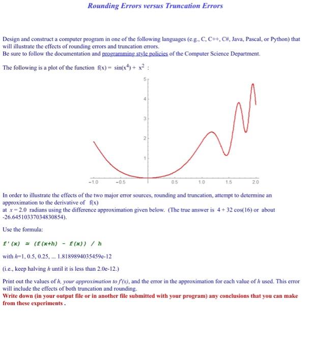 Solved: Rounding Errors Versus Truncation Errors Design An