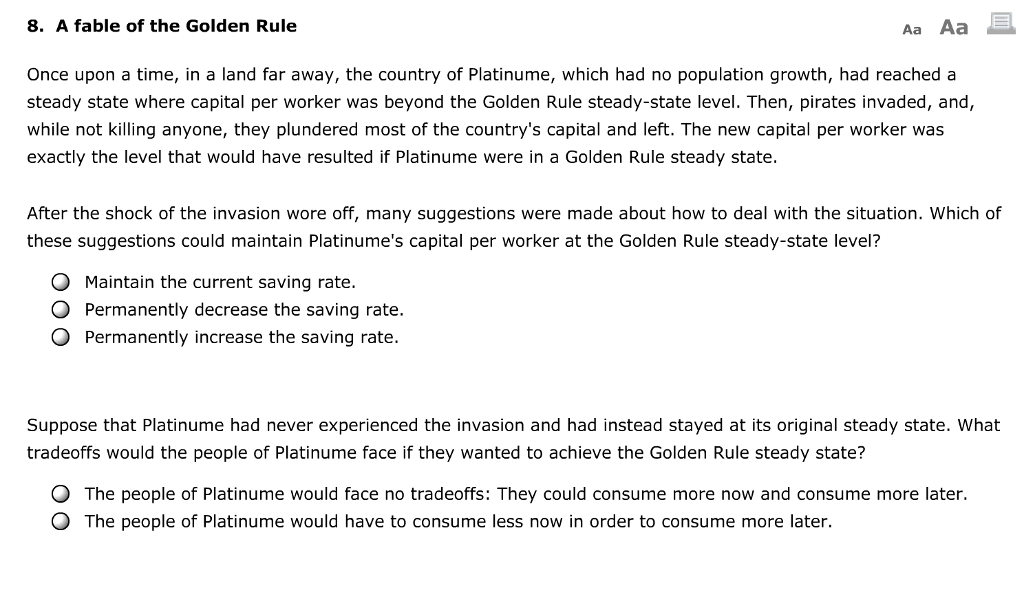 Solved: 8  A Fable Of The Golden Rule Aa Aa Once Upon A Ti